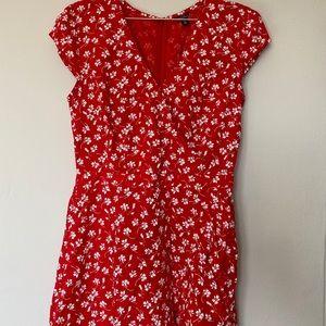 J.Crew faux-wrap red microfloral dress